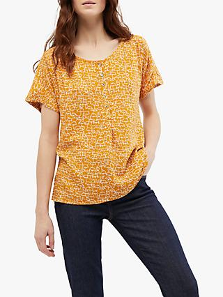 White Stuff Dory Top, Ochre Yellow Print