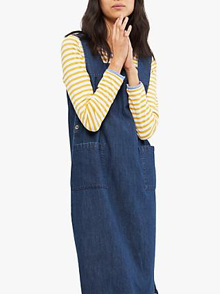 White Stuff Moonshine Denim Pinny Dress, Blue Denim Plain