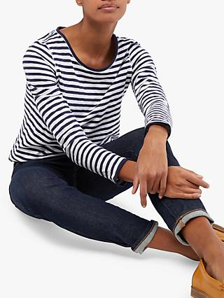 White Stuff Carly Stripe Jersey Top, Dusted Navy