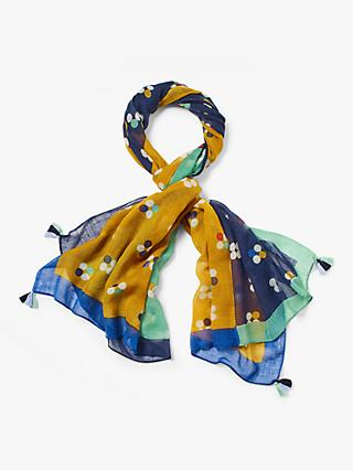 White Stuff Willow Printed Wool Scarf, Ochre Yellow