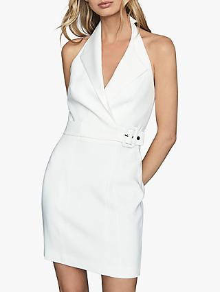 Reiss Immy Twill Halter Neck Tux Bodycon Dress, White