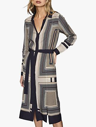 Reiss Adelita Scarf Print Shirt Dress, Cream/Black