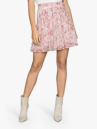 Reiss Orielle Ikat Pintuck Panel Mini Skirt, Pink