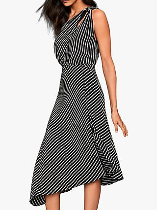 Reiss Della Asymmetric Strap and Hem Midi Dress, Black/White