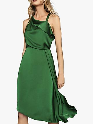 Reiss Aya Draped Satin Midi Dress