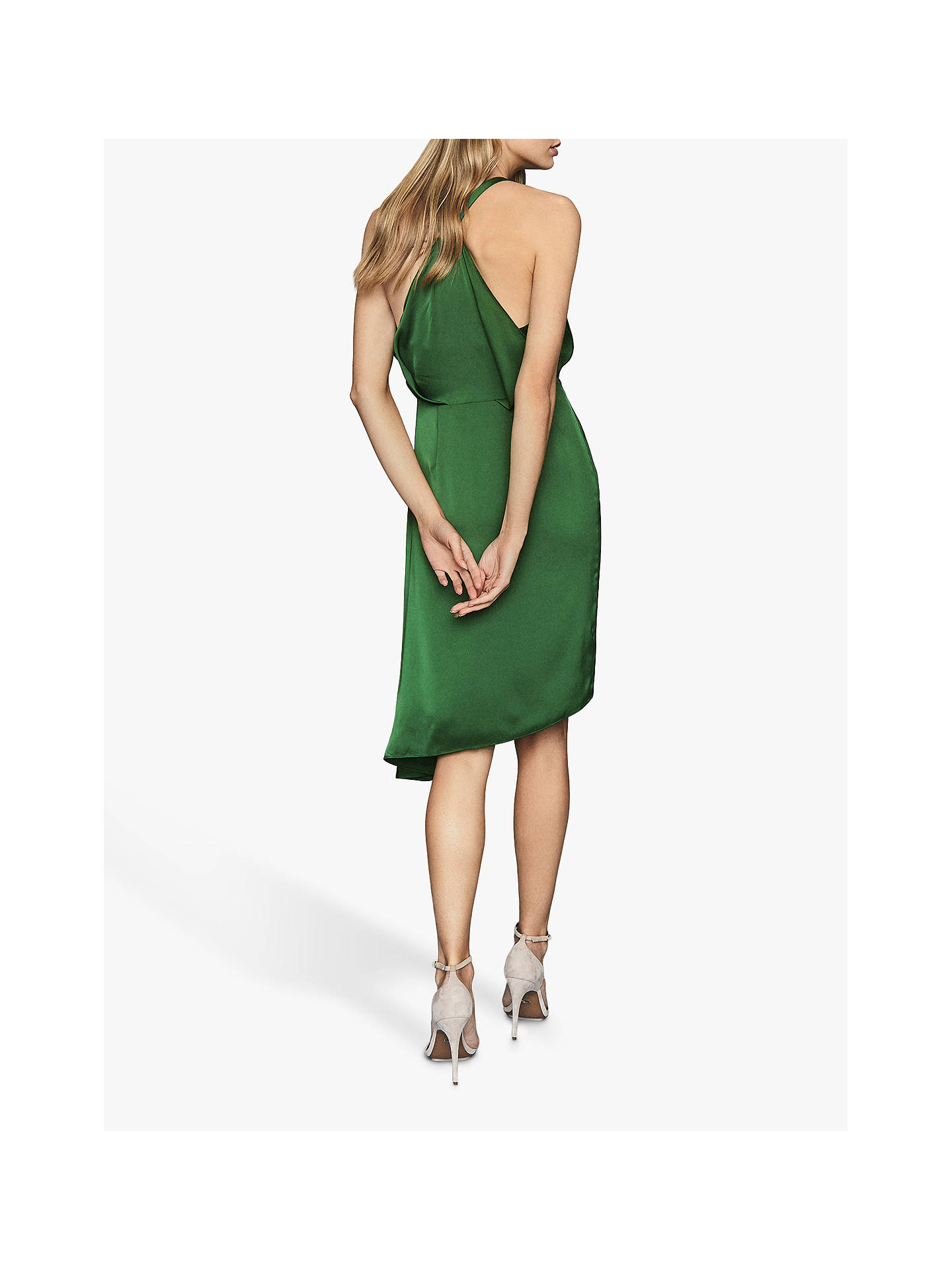 Buy Reiss Aya Draped Satin Midi Dress, Green, 12 Online at johnlewis.com
