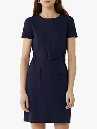 Warehouse Utility Belted Shift Dress, Navy