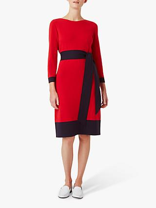Hobbs Ellen Knitted Dress, Red/Navy