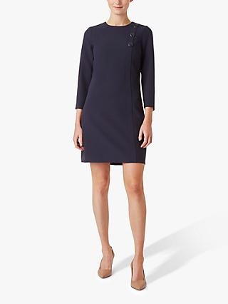 Hobbs Bella Button Detail Dress, Navy