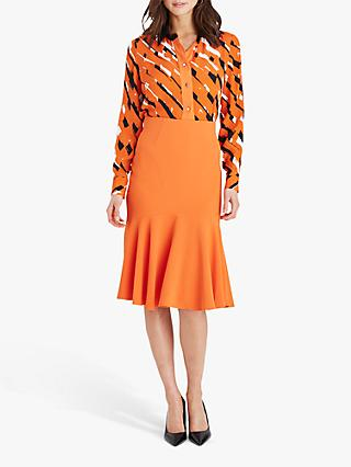 Damsel in a Dress Drina Print Shirt, Orange/Multi