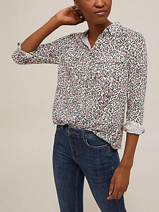 Collection WEEKEND by John Lewis Floral Boyfriend Shirt, White/Multi