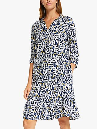 Collection WEEKEND by John Lewis Floral Print Tie Neck Dress, Navy