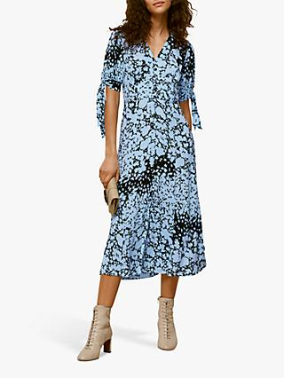 Whistles Floral Animal Neave Dress, Blue Multi