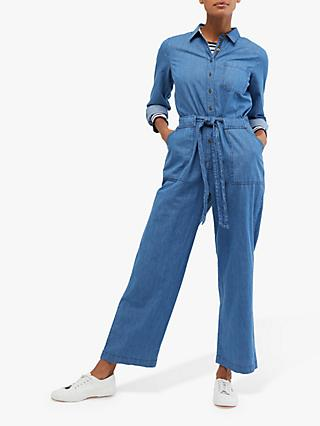White Stuff Forecast Denim Boilersuit, Denim Blue