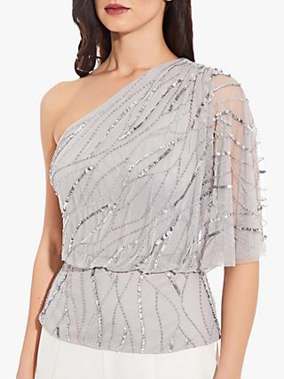Adrianna Papell Asymmetric Beaded Blouson Top, Bridal Silver