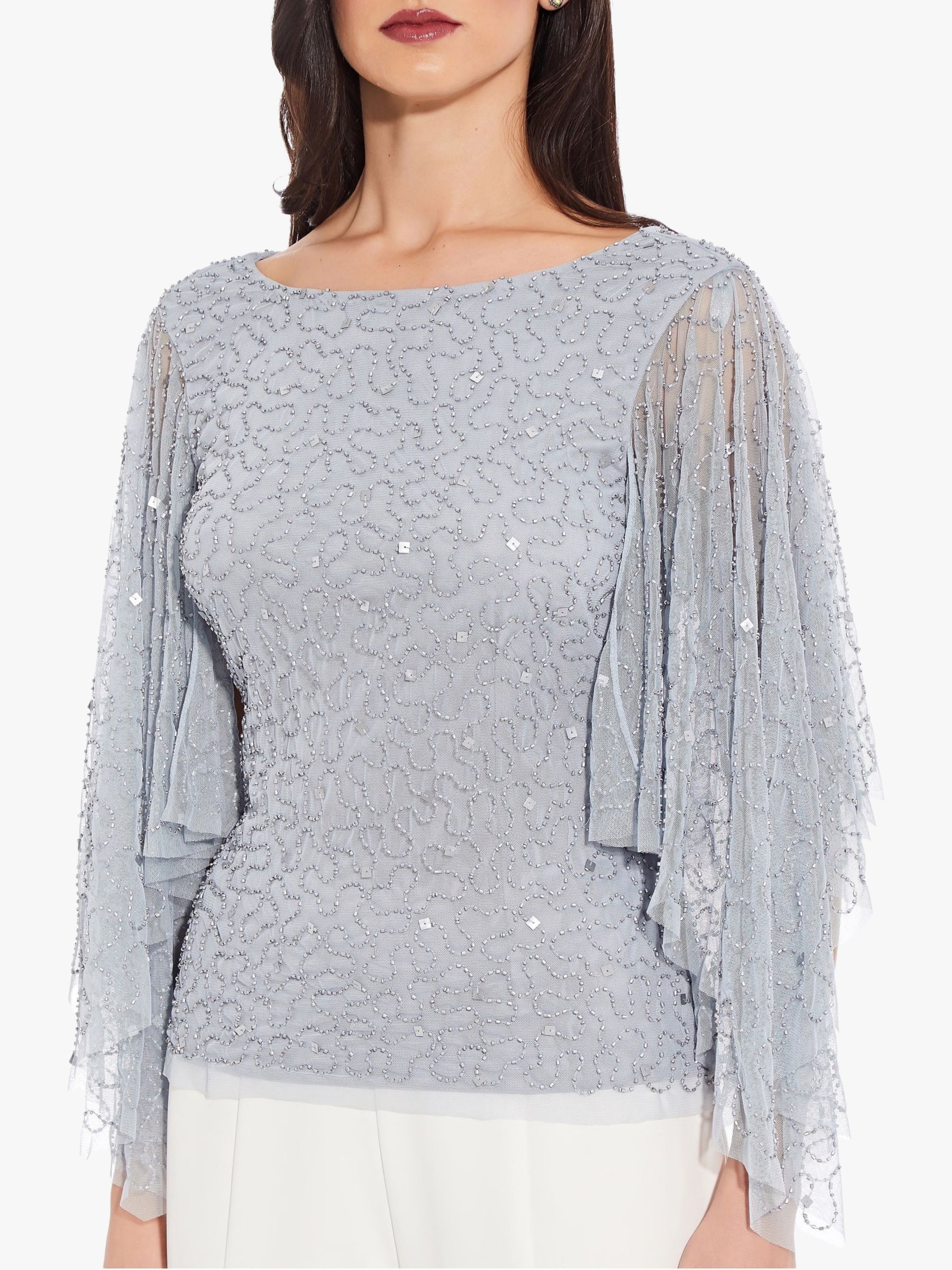 Adrianna Papell Adrianna Papell Beaded Long Flutter Sleeve Top, Heather Blue
