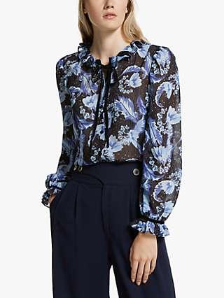 Somerset by Alice Temperley Dahlia Tie Neck Blouse, Blue