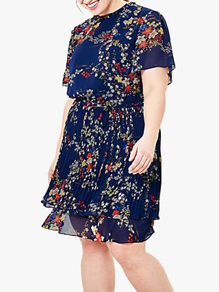 Oasis Curve Floral Pleated Skater Mini Dress, Blue/Multi