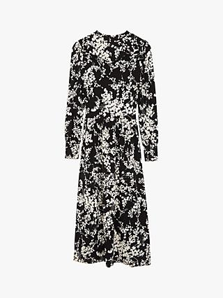 Oasis Shadow Floral Print Midi Dress, Black/Multi