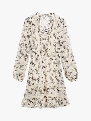 Oasis Abstract Blossom Print Lace Mini Dress, Neutral