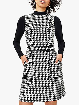 Oasis Dogtooth Geometric Mini Dress, Black/White