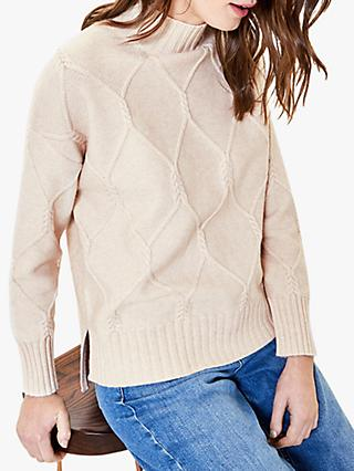 Oasis Twist Cable Knit Jumper, Light Neutral
