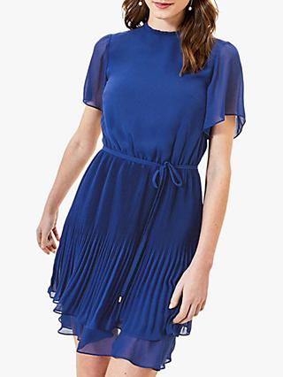 Oasis Pleated Skater Mini Dress, Rich Blue