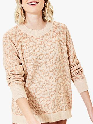Oasis Feather Print Jumper, Light Neutral