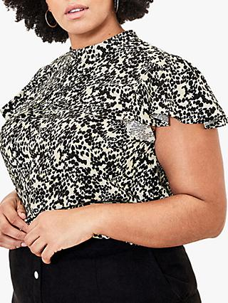 Oasis Curve Smudge Print Shell Top, Black/White