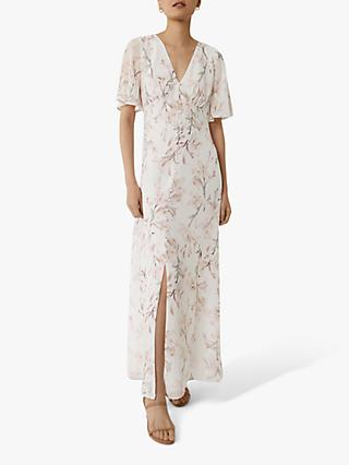 Warehouse Angel Sleeve Floral Dress, Pink