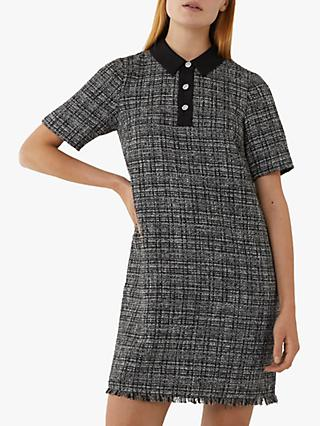 Warehouse Tweed Shift Dress, Black/Multi