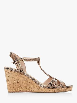 Dune Koala Leather Wedge Heel Sandals