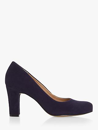 Dune Ashen Suede Comfort Block Heel Court Shoes