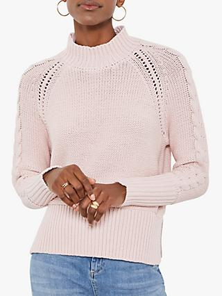 Mint Velvet Cable Sleeve Jumper, Pink