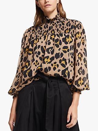 Somerset by Alice Temperley Oversized Leopard Print Smock Blouse, Multi