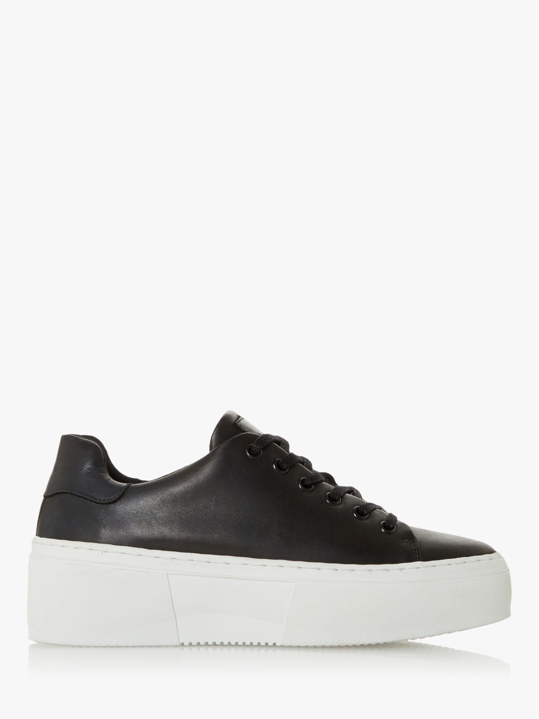 Bertie Bertie Electaa Leather Lace Up Flatform Trainers, Black