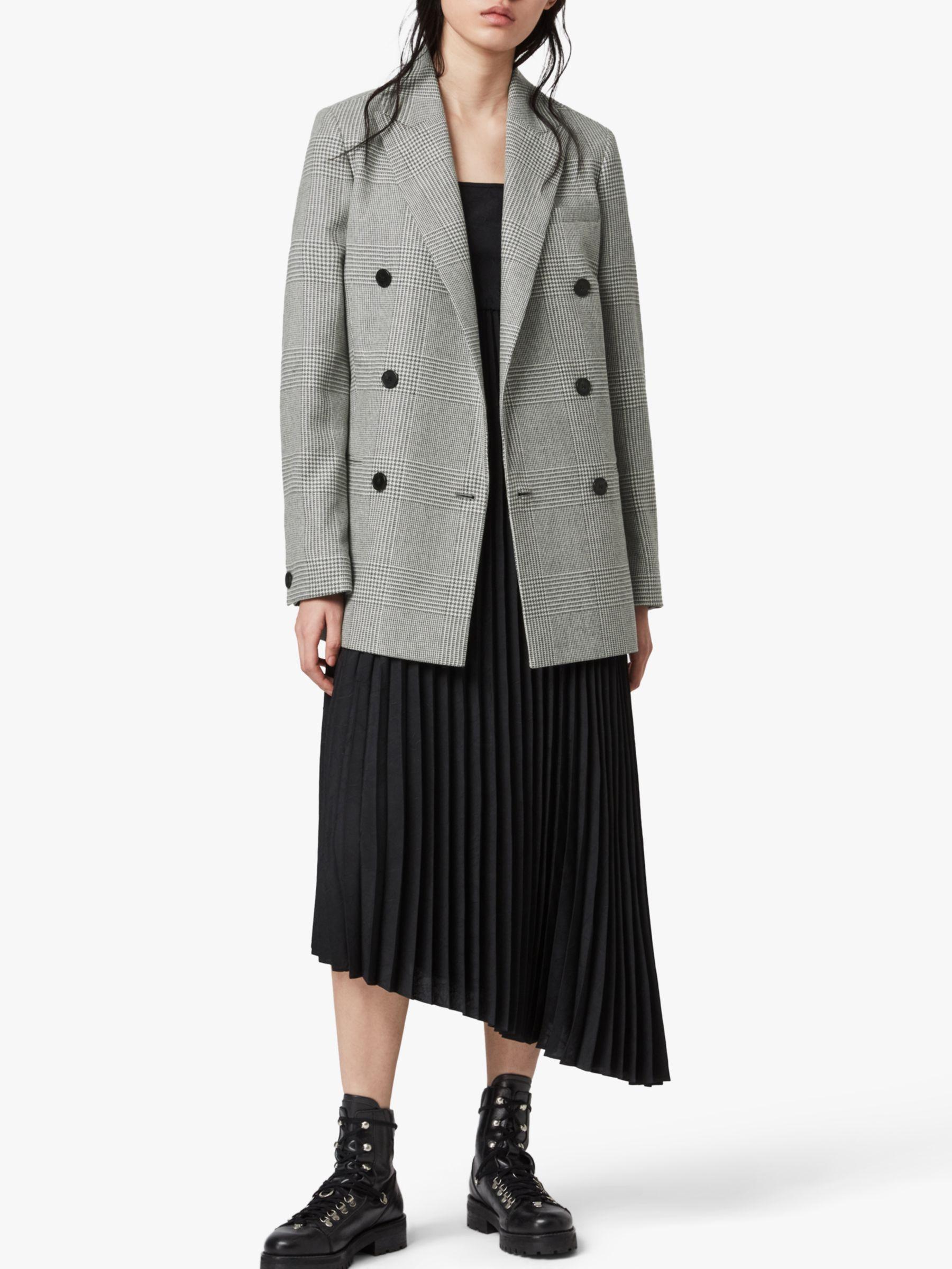 AllSaints AllSaints Astrid Check Blazer, Light Grey/Ecru