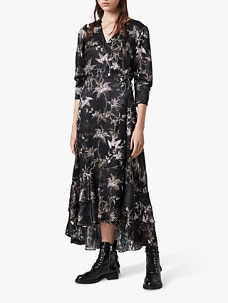 AllSaints Tage Evolution Silk Blend Dress, Black
