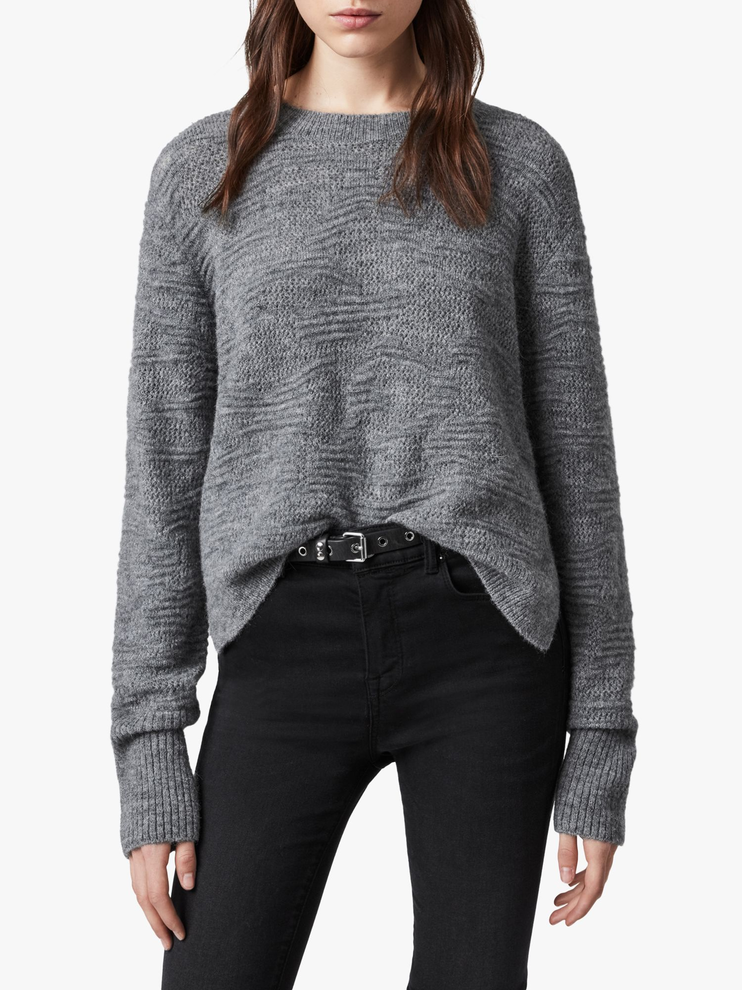 AllSaints AllSaints Tabby Wool Alpaca Jumper, Grey Marl