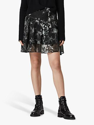 AllSaints Aislyn Evolution Silk Blend Skirt, Black