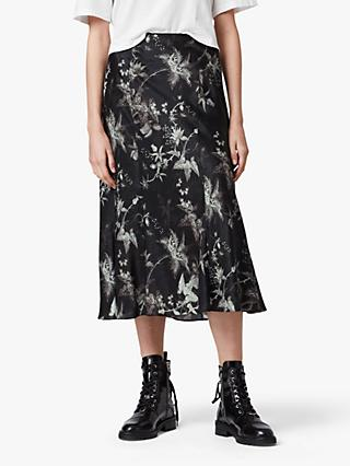 AllSaints Elly Evolution Floral Midi Skirt, Black