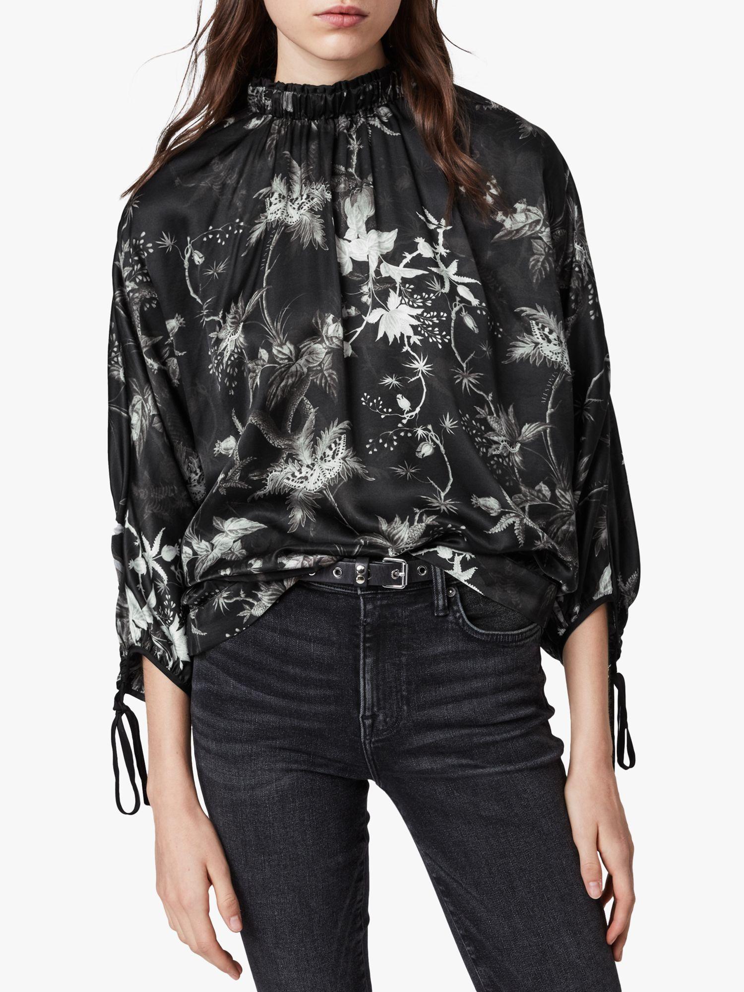 AllSaints AllSaints Rora Evolution Floral Top, Black
