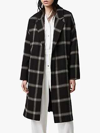 AllSaints Lara Check Relaxed Fit Coat, Black/Light Grey