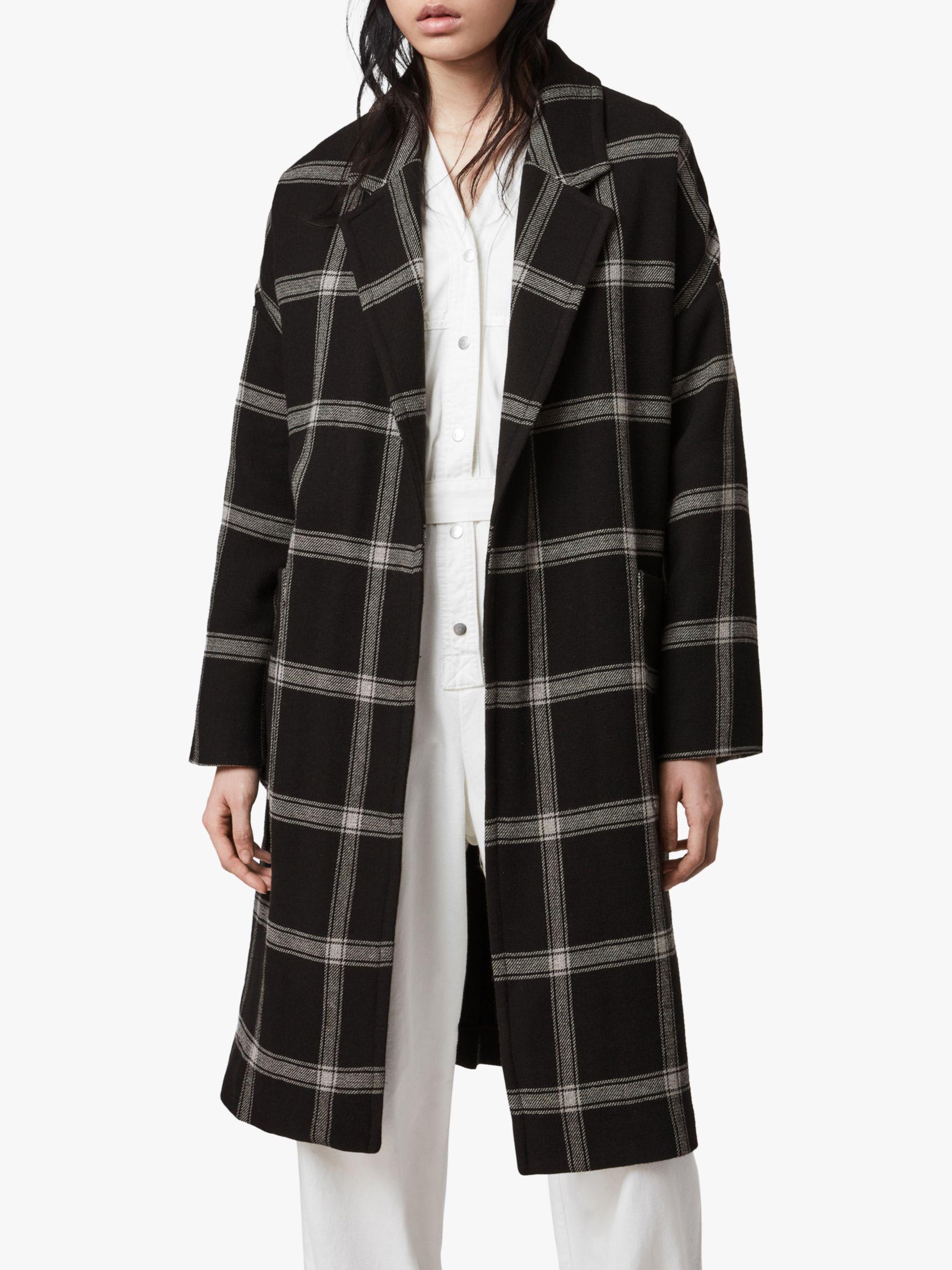 AllSaints AllSaints Lara Check Relaxed Fit Coat, Black/Light Grey