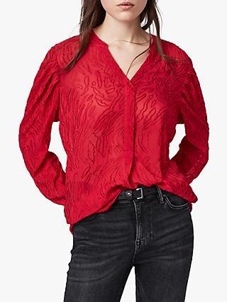 AllSaints Rosi Ani Blouse, Red