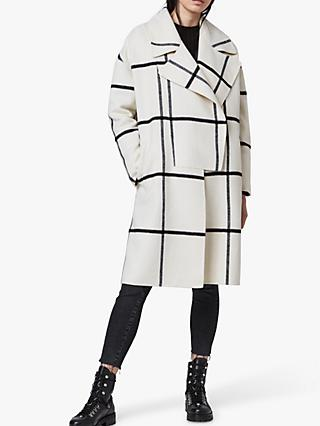 AllSaints Ryder Check Coat, Black/Ecru White