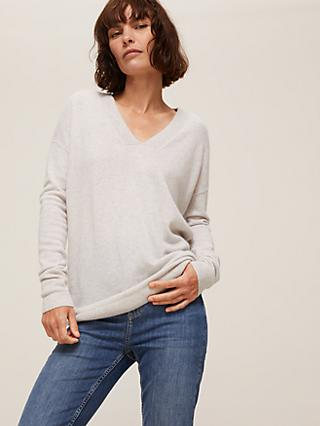 John Lewis & Partners Cashmere Relaxed V-Neck Jumper