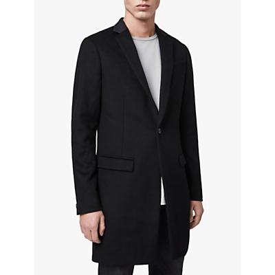 AllSaints Standen Wool Leather Collar Coat, Black