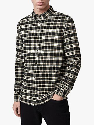 AllSaints Ridgewood Check Flannel Shirt, Black
