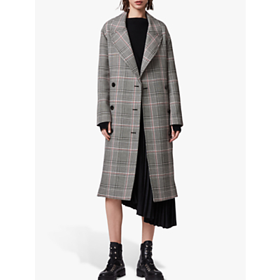 AllSaints Tyla Check Trench Coat, Black/White